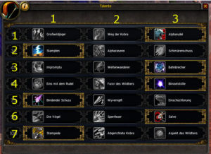 BM Hunter Talents with Row/Column Numbers