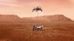 Sky Crane Manöver, Bild: NASA/ JPL-Caltech